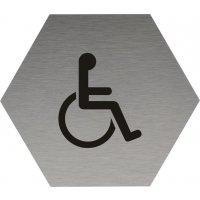 Signalétique alu anodisé brossé Toilettes handicapés