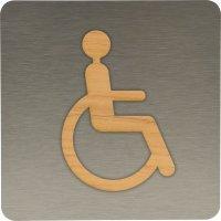 Plaque de porte en bois Alu/bois Handicapés