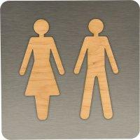 Plaque de porte en bois Alu/bois Homme/Femme