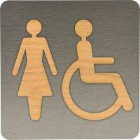 Plaque de porte en Alu/Bois Femmes handicapées