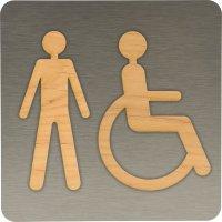 Plaque de porte en Alu/Bois Hommes handicapés