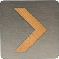 Plaque de porte en alu brossé et bois Flèche