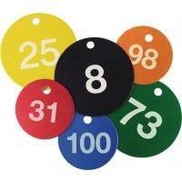 Marqueurs de vanne numerotés par série de 25 alu coloré