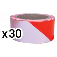 Lot de 30 rubans de chantier Rouge/Blanc 100 m x 50 mm