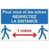 Panneau respectez les distances 1 m