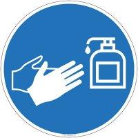Panneau se laver les mains avec du gel hydroalcoolique