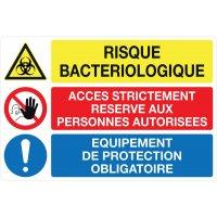 Panneau PVC Risque bactériologique, accès interdit, EPI