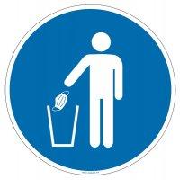 Panneau Obligation de jeter son masque dans la poubelle