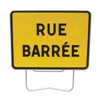 Panneau avec pied solidaire Rue barrée
