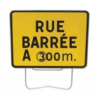 Panneau avec pied solidaire et disque Rue barrée