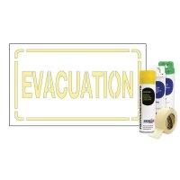 Kit Sol ou mur Pochoir texte Evacuation