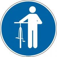 Panneau Picto obligation de descendre de vélo
