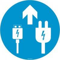 Autocollant sol zone chargement USB et secteur + Flèche
