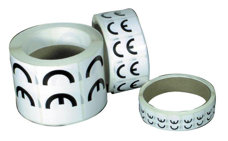Rouleau 100 Etiquettes Vinyl CE pour machines