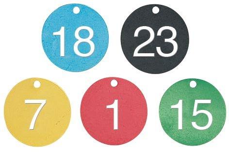 Marqueurs de vannes prénumerotés 1 à 25 alu coloré