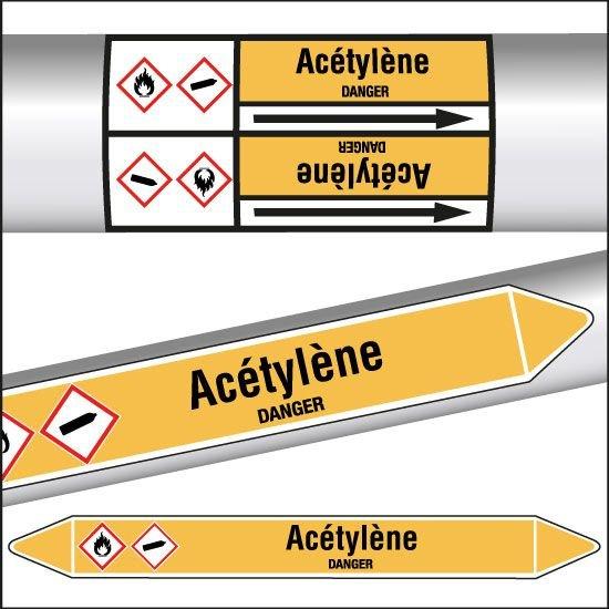 Marqueurs de tuyauterie CLP Acétylène