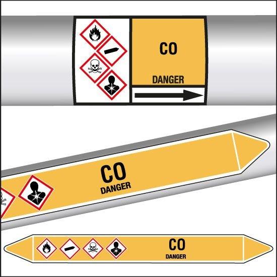 Marqueurs de tuyauterie CLP texte CO