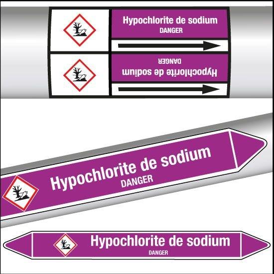 Marqueurs de tuyauterie CLP Hypochlorite de sodium