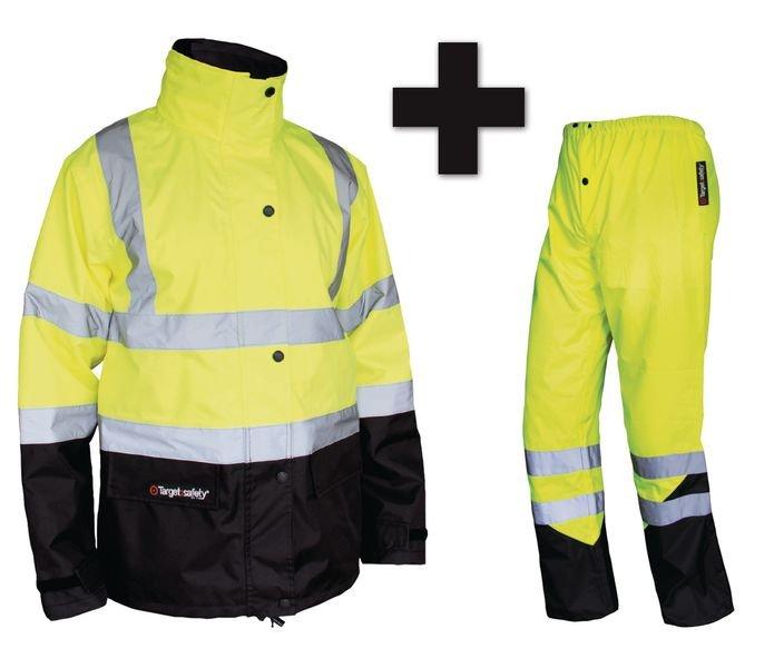 Parka et pantalon jaune ou orange haute visibilité