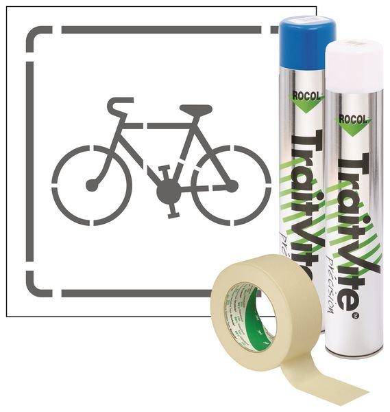 Kit aérosols et pochoir vélo polypropylène