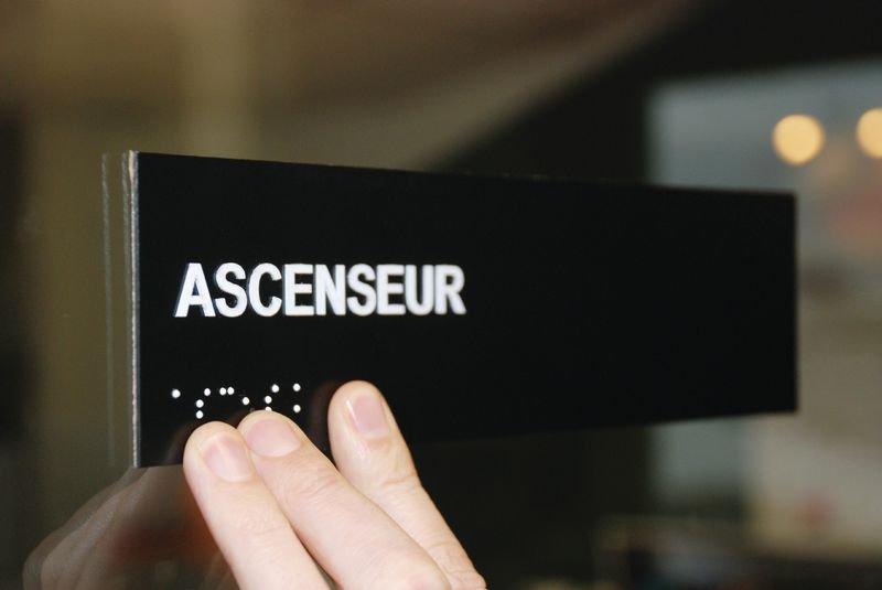 Plaque texte et braille Service Technique