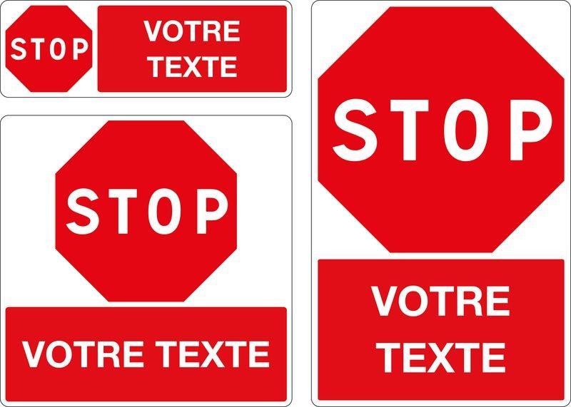 Panneau Stop avec texte personnalisé
