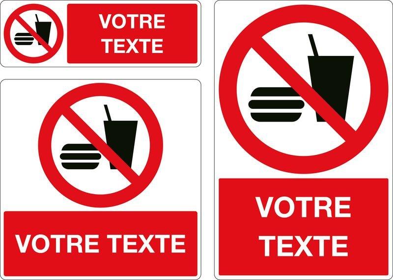 Panneau Interdiction de boire et manger personnalisé