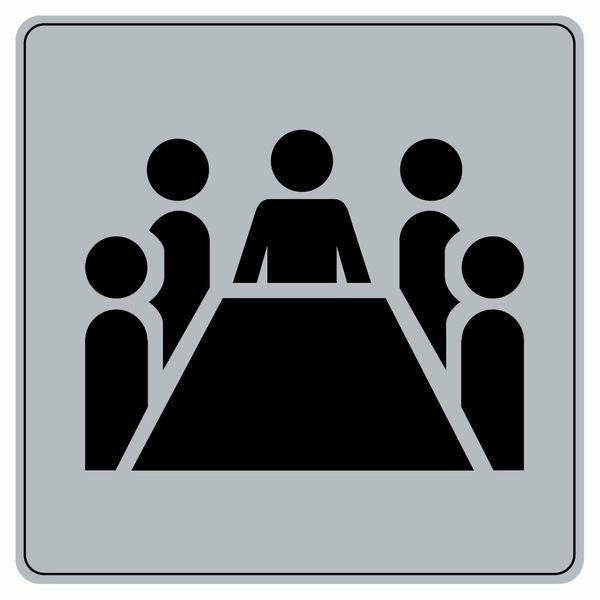 Symbole Plexi fond gris Salle de conférence
