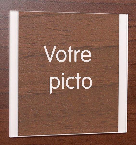 Plaque Plexi gravée 100x100 mm pictogramme personnalisé