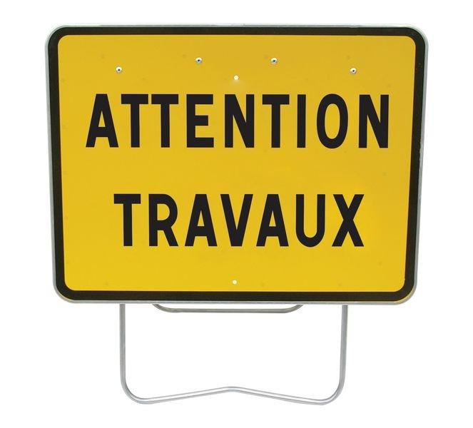 Panneau de présignalisation Galva Attention travaux Cl1