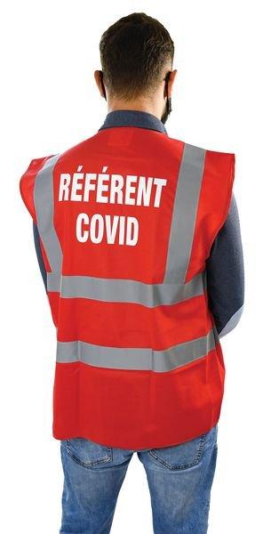Gilet de sécurité marquage Référent COVID - Baudriers et gilets haute visibilité