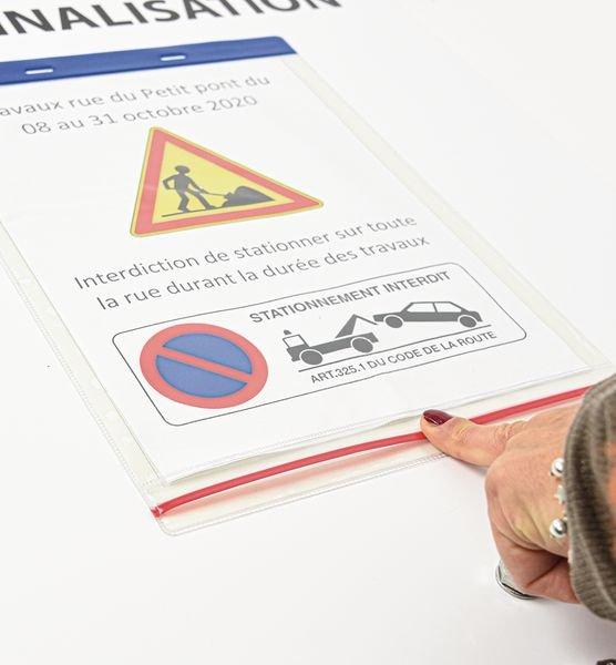 Kit temporaire Panneau + socle mobile + pochette - Sécurisation des chantiers