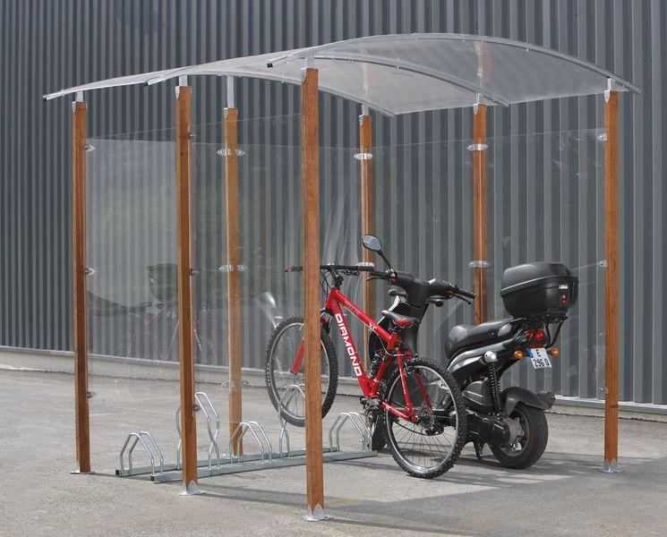 Abri vélos 4,4 m² acier ou bois (photo)