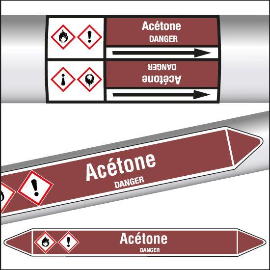 Marqueurs de tuyauterie CLP Acétone (photo)