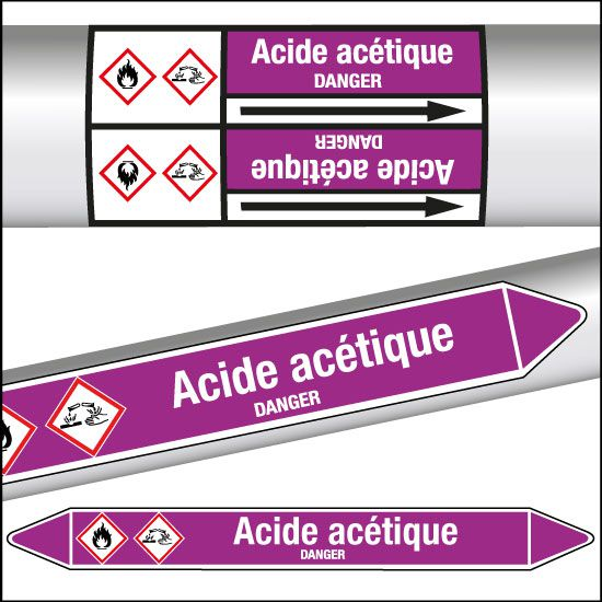 Marqueurs de tuyauterie CLP Acide acétique (photo)