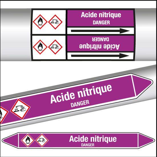 Marqueurs de tuyauterie CLP Acide nitrique (photo)