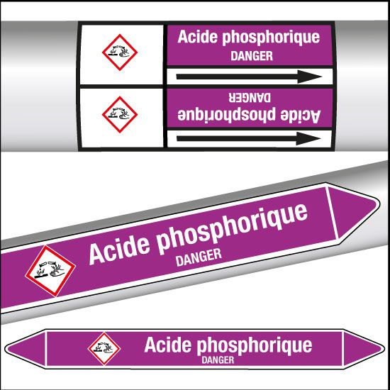 Marqueurs de tuyauterie CLP Acide phosphorique (photo)