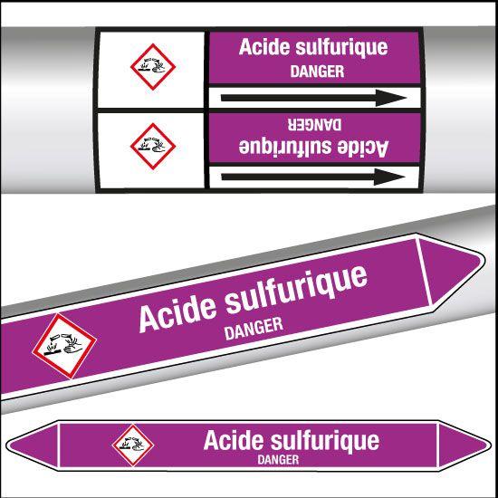 Marqueurs de tuyauterie CLP Acide sulfurique (photo)