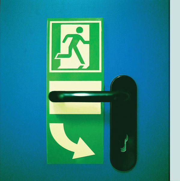Repérage photolum poignée de porte d'issue de secours