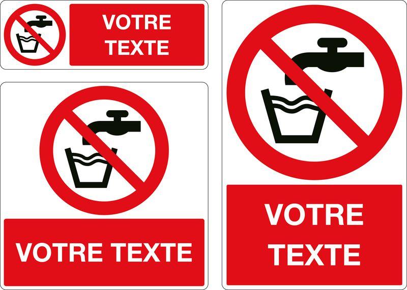 Panneau personnalisé Eau non potable (photo)