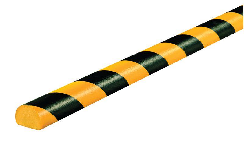 Amortisseur 1 ou 5 m profil C 1/2 rond Jaune/Noir