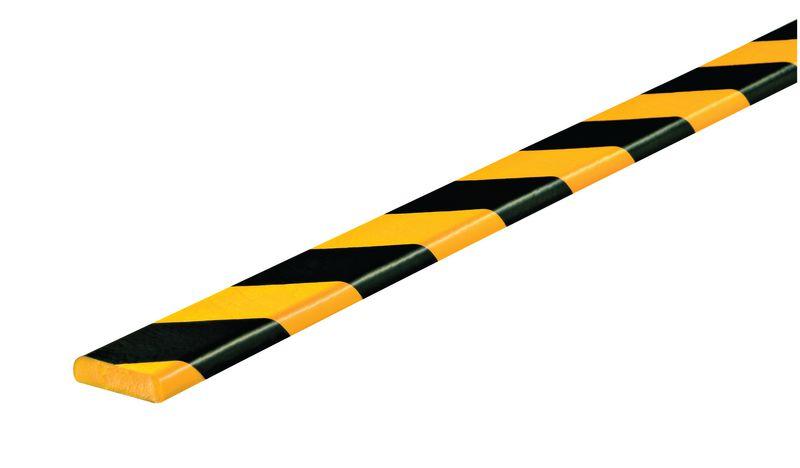 Amortisseur 1 ou 5 m profil F rectangulaire Jaune/Noir (photo)
