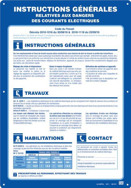 Panneau Alu Instruction sécurité électrique