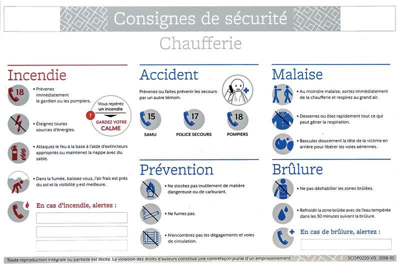 Consigne de sécurité chaufferie et gaz (photo)