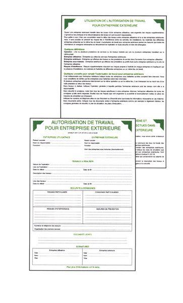 50 formulaires d'autorisation de travail