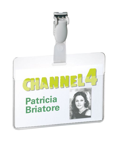Badge avec clip en PVC rigide transparent