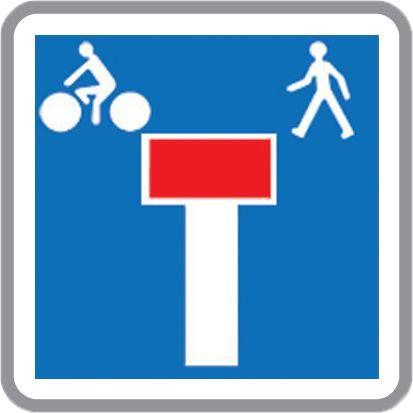 Panneau Europ Voie sans issue sauf Piéton et Vélo (photo)