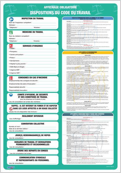 Affichage obligatoire conforme en PVC