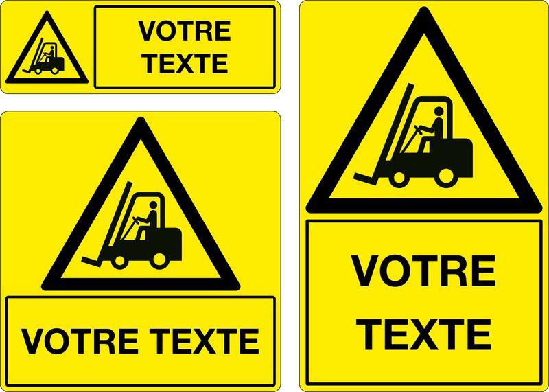 Panneau personnalisé Danger Circulation de chariots (photo)