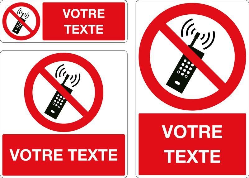 Panneau personnalisé Téléphones portables interdits